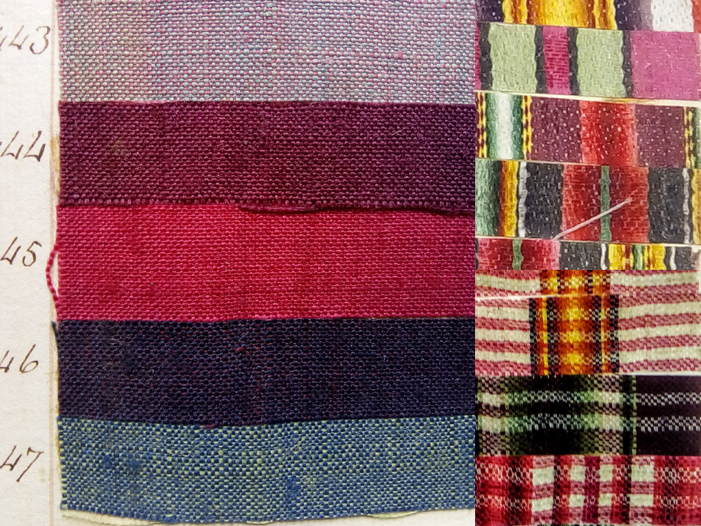 Although I marvel at the technical ability of the weavers to produce some of the more complicated designs with interesting names such as batavias, taborets and brocaded callimancoes, as a dyer my favourites are the simpler weave structures where the emphasis is on the dyer's skill in creating a range of vivid colours.