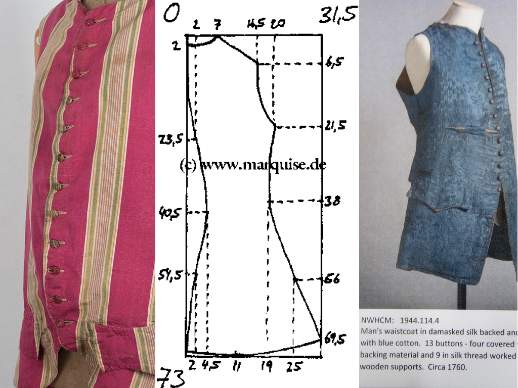 THE WAISTCOAT  Although there are samples of callimanco in the archive there are no garments that illustrate what the fabrics could have been used for. I decided to create a waistcoat based on late 18th century designs. I found a pattern online and adapted it to fit Dr Michael. I also looked at some of the waistcoats in the archives, looking at details like buttonholes and pocket designs.