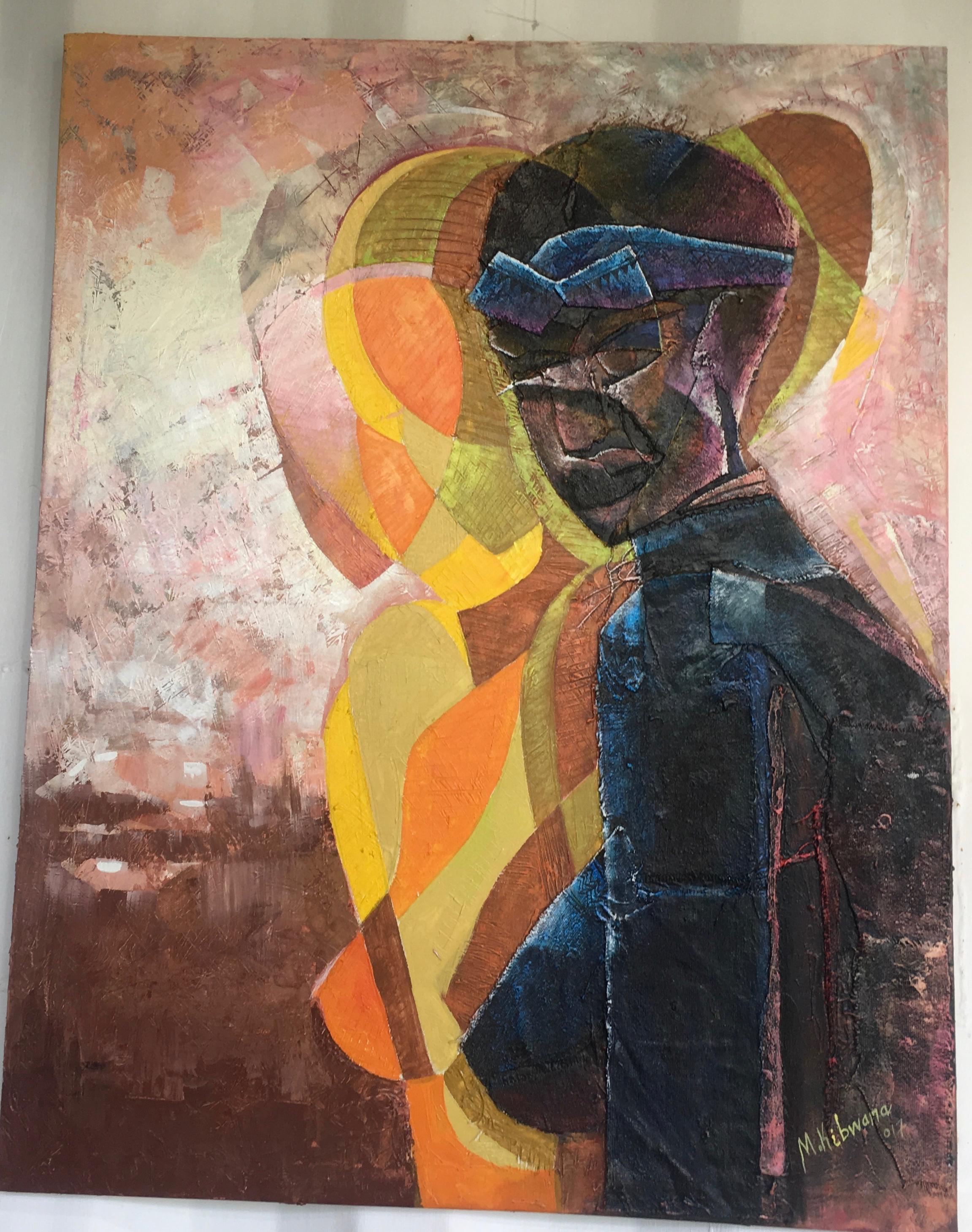 Identify, 2017, Acrylic on canvas and wood glue, 90x70cm (c) Masoud Kibwana