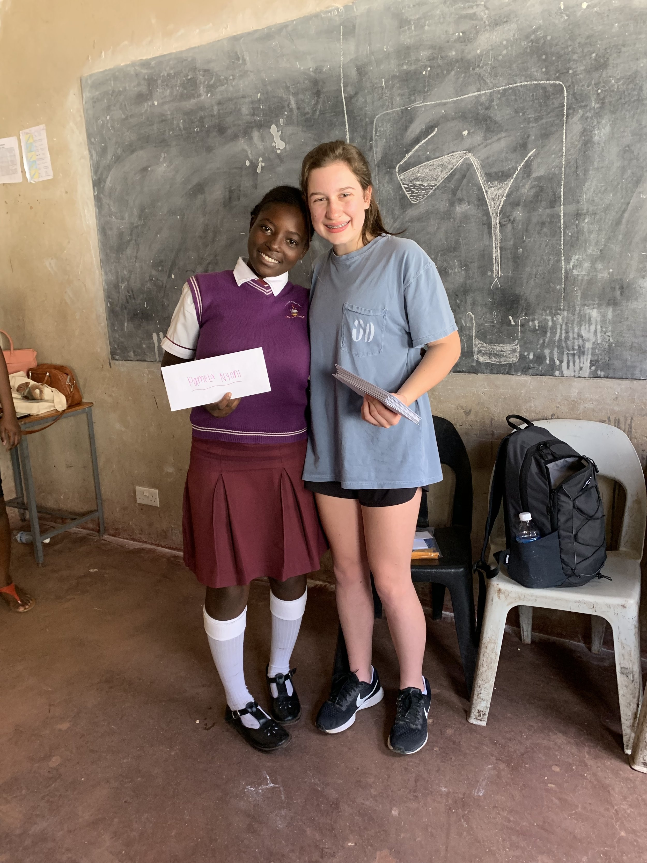 This is one of the girls, Pamela, after she received her pen-pal letter