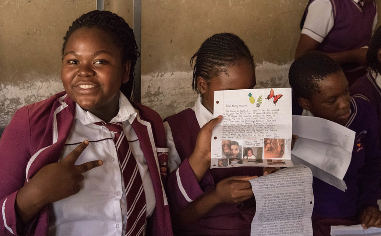 One of the girls loving the letter she received!