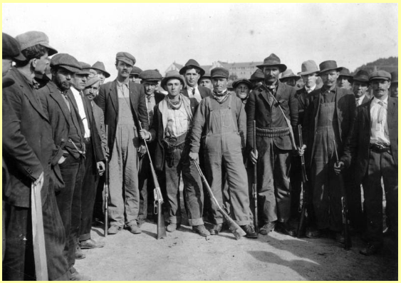 """The Ludlow miners were called """"rednecks"""" because, in a show of solidarity, they tied red bandannas around their throats."""