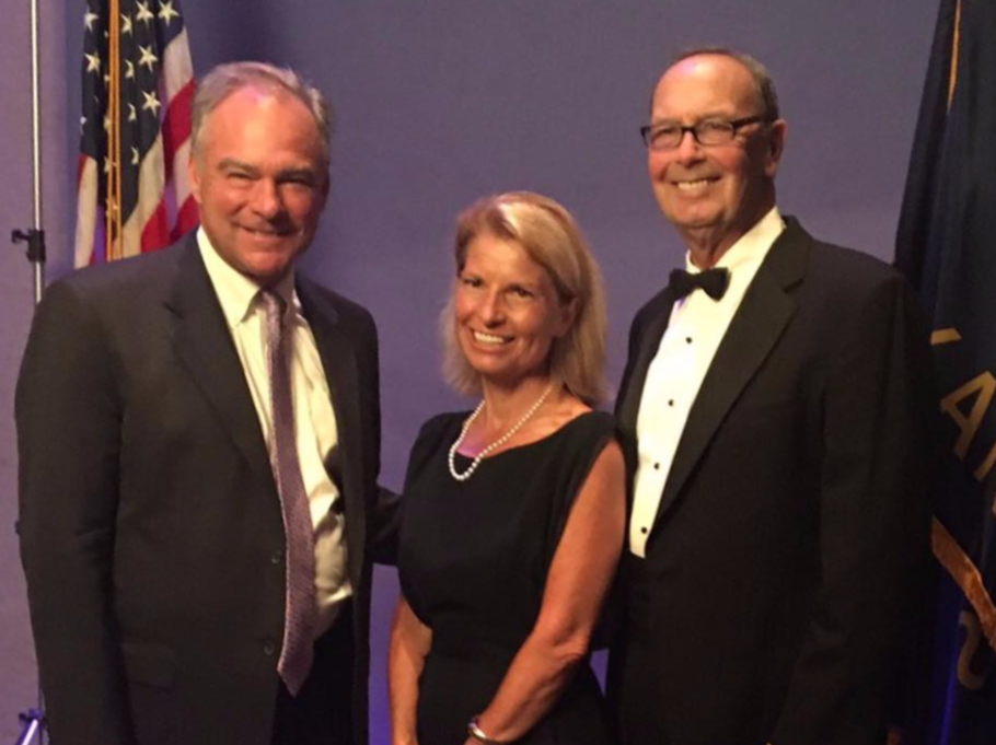 Sen. Tim Kaine with Ramsey at the Johnson County Democratic Party gala. Photo via    Andrea Ramsey for Congress
