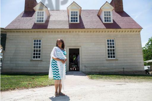 ZSun-nee Miller-Matema, a descendant of Caroline Branham, one of Washington's slaves who had a child by his adopted son, at Mount Vernon. (AP Photo/Zach Gibson)