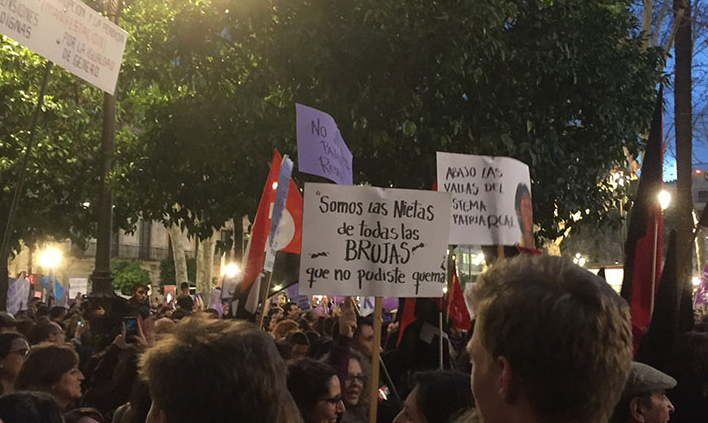 "Sign from the women's march in Seville, reading ""we are the granddaughters of all the witches you could not burn."""