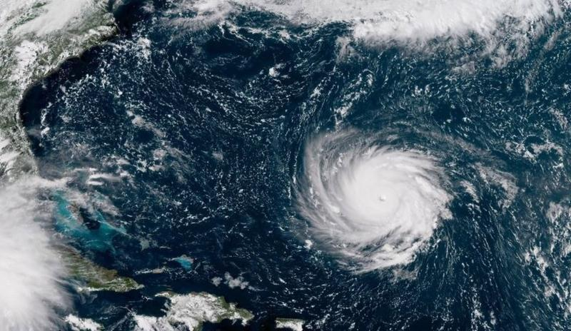 Hurricane Florence. Image labeled for reuse by NOAA