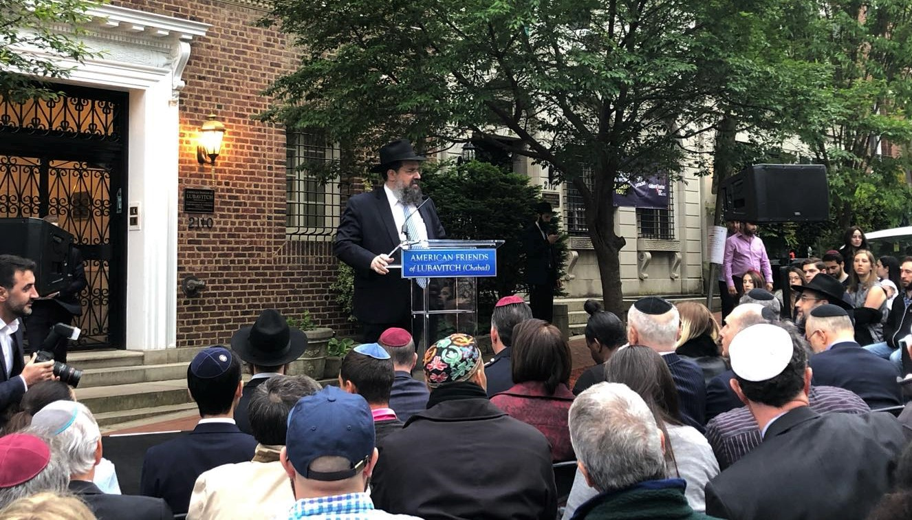 Rabbi Shemtov speaking at the Time for Solidarity event. Photo by the author.