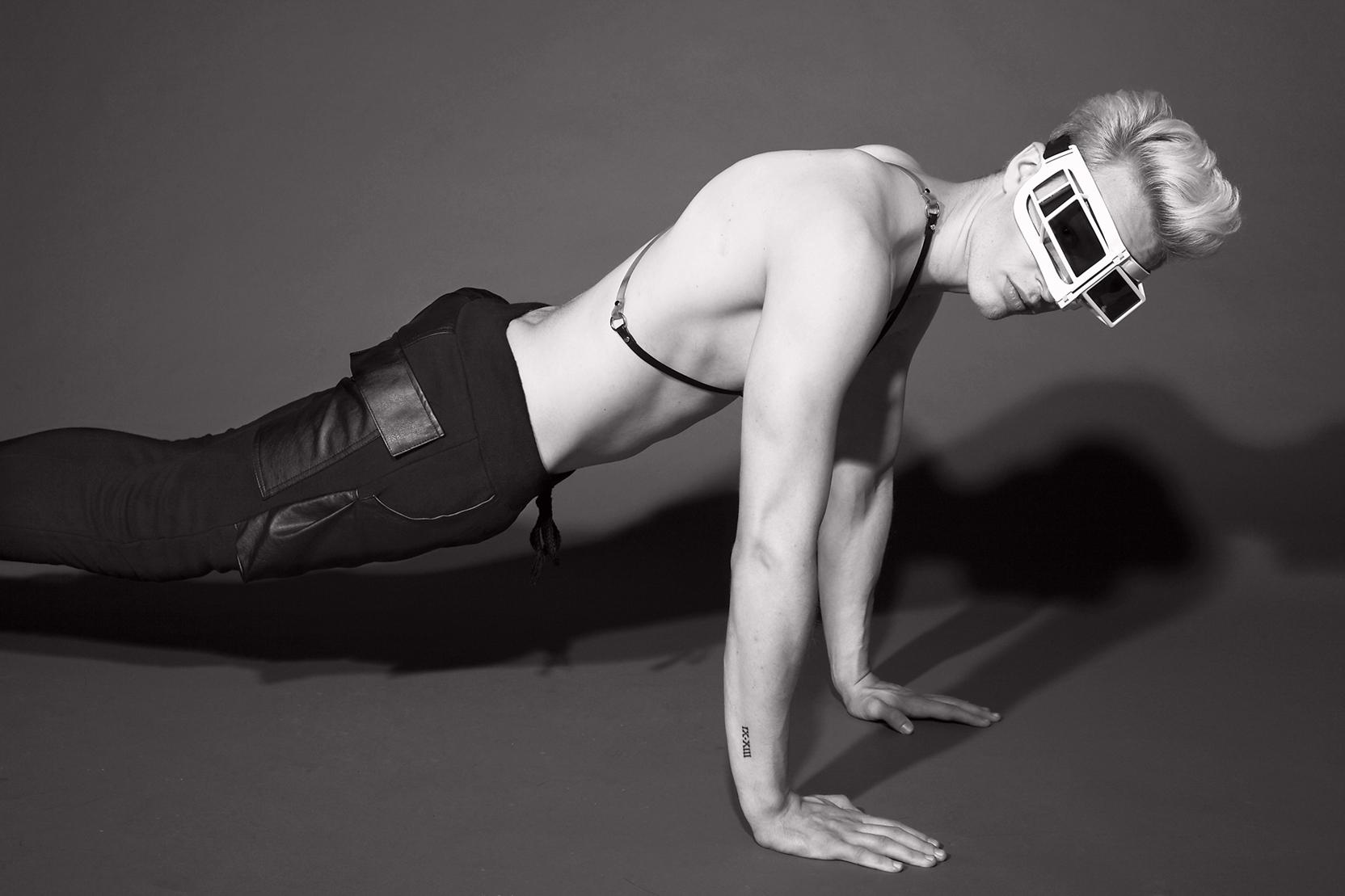 Harness  Nouveau, Pants  Cody Ross, Shoes & Sunglasses  KTZ           photographer  Barry Hollywood   grooming  paul venoit@wilhelmina nyc   stylist  carlos davis   male models   tyler james @ qmanagement nyc    jan avehard @ nymodels nyc    ian sheridan @ nymodels nyc    luca schmitz @ nymodels nyc