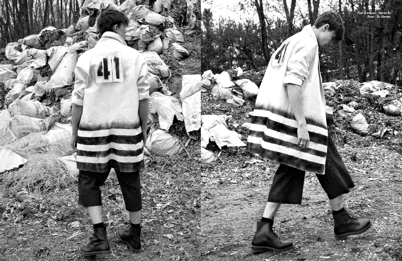 Coat & trousers  Marna Ro, Boots  Dr. Martens         Photographer  Barry Hollywood   Stylist  Carlos Davis   Groomer  Michael Fernandez artists @ wilhelmina   Models  Bryan McCartney @red model management    Liam Little @ Request models