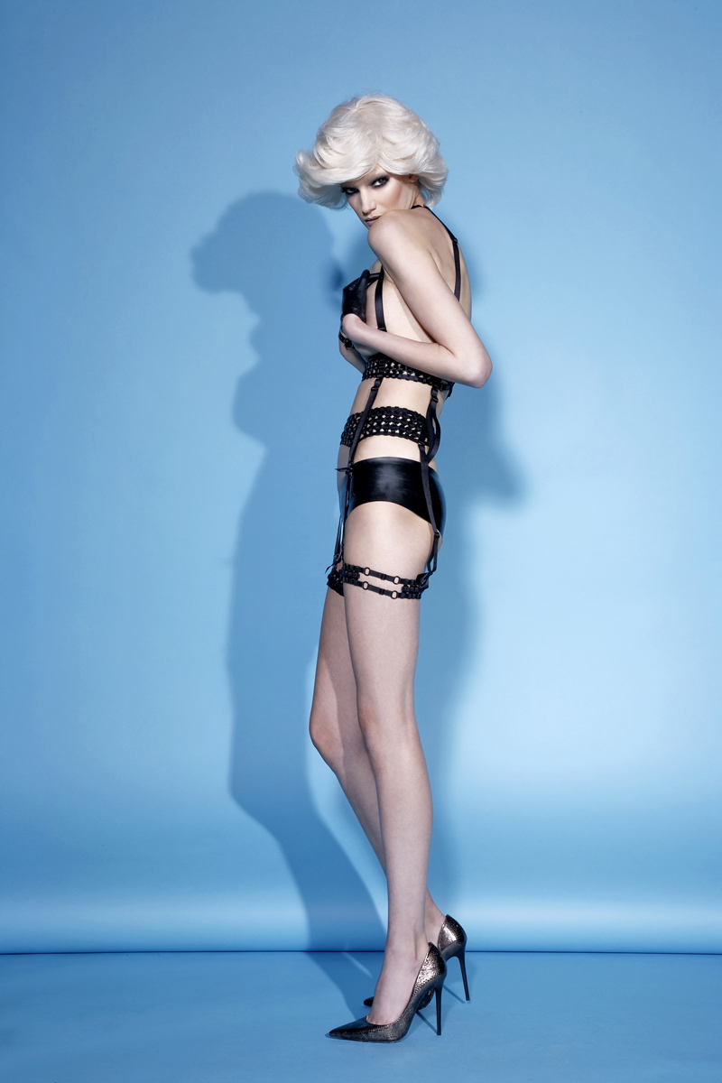 Body harness and thigh harness both  Bodybinds , Gloves  Tableux Vivants , Shorts  Vex ,Vintage heels  Azzedine Alaia