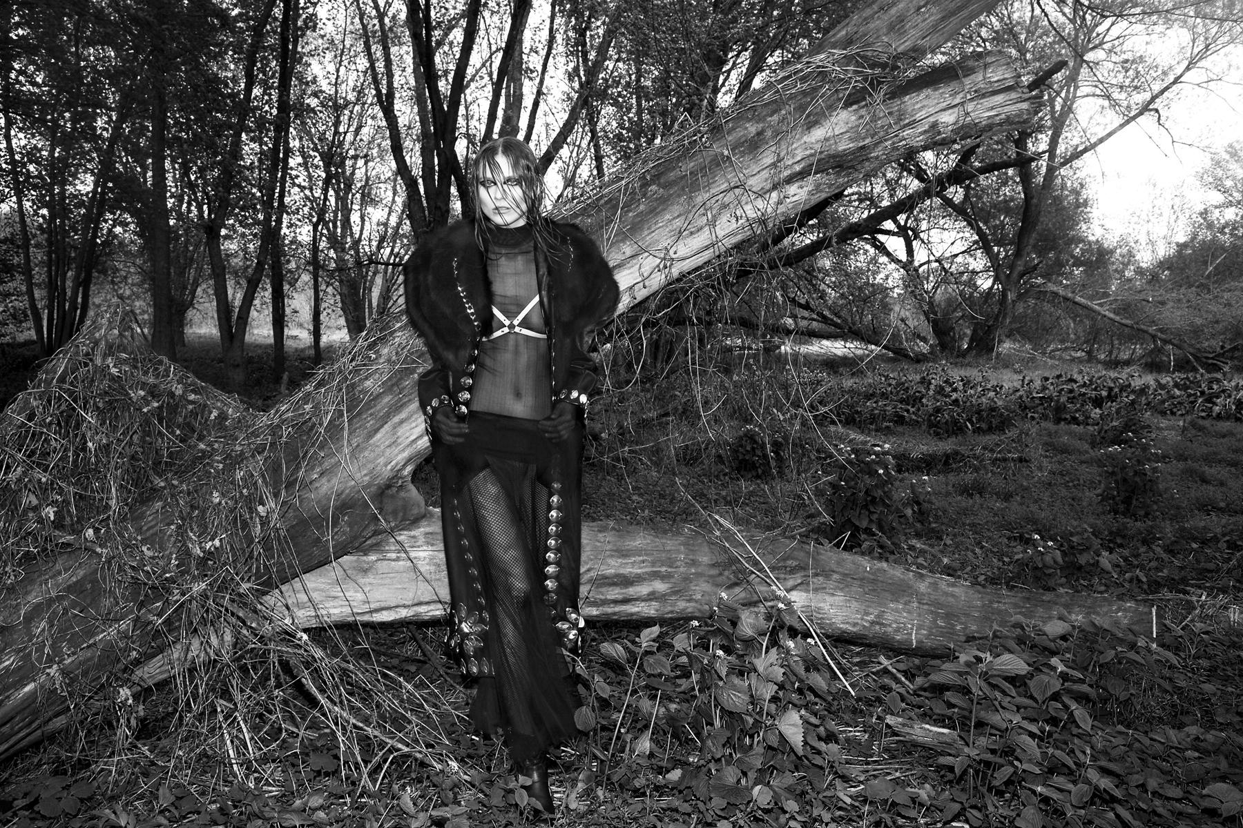 Coat  Laurel Dewitt,  Sheer top & skirt both  Breelayne  ,Harness  Laruicci,  Gloves  LaCrasia  Models own  Jimmy Choo boots