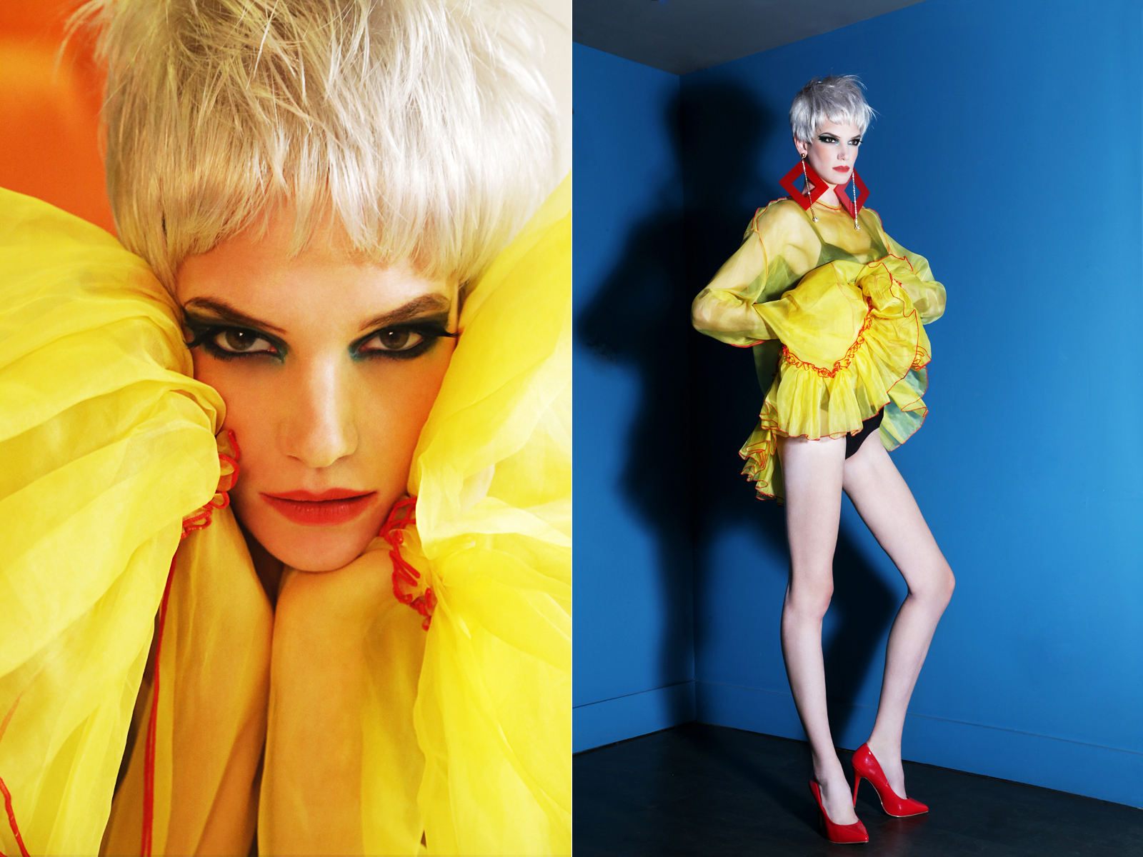 Yellow dress w/ red piping detail and heels BY  Maison the Faux,  Black swimwear worn underneath  Omo Norma Kamali,  Earrings  Laruicci