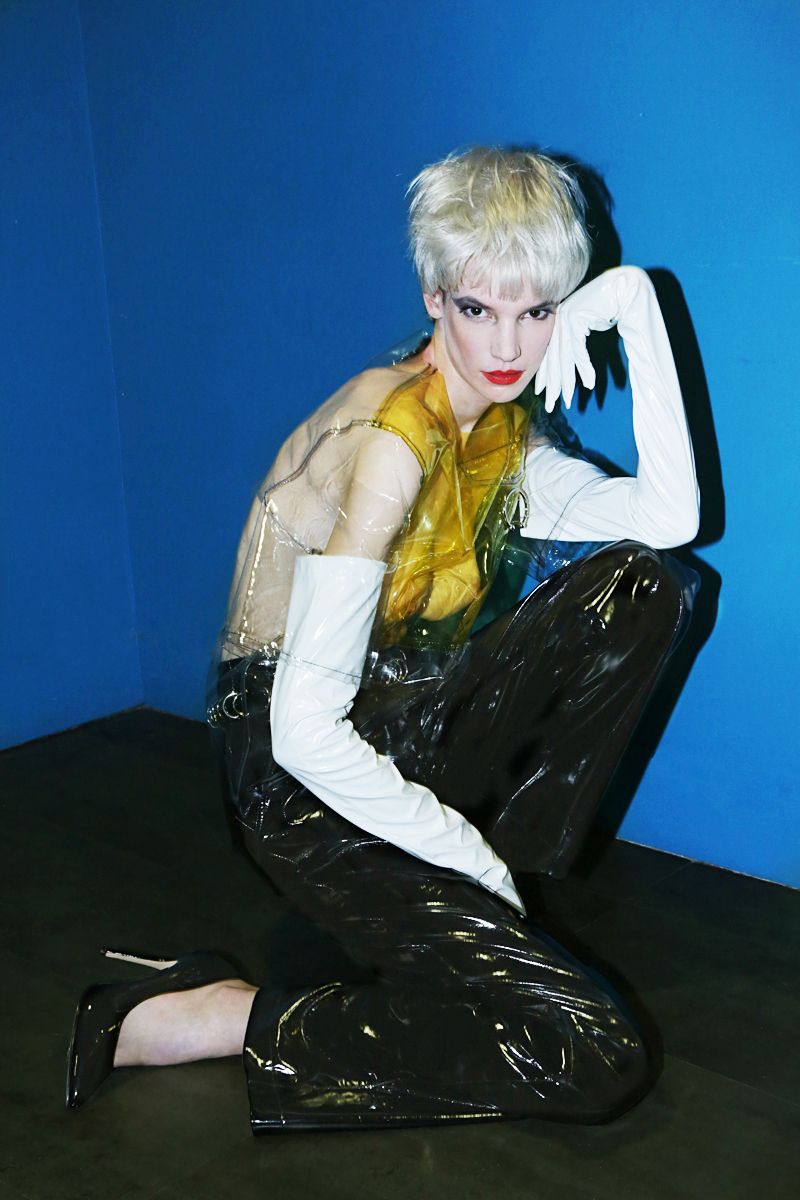 CLEAR TOP AND PATENT LEATHER HIGH WAISTED PANT BY  ALON LIVNE