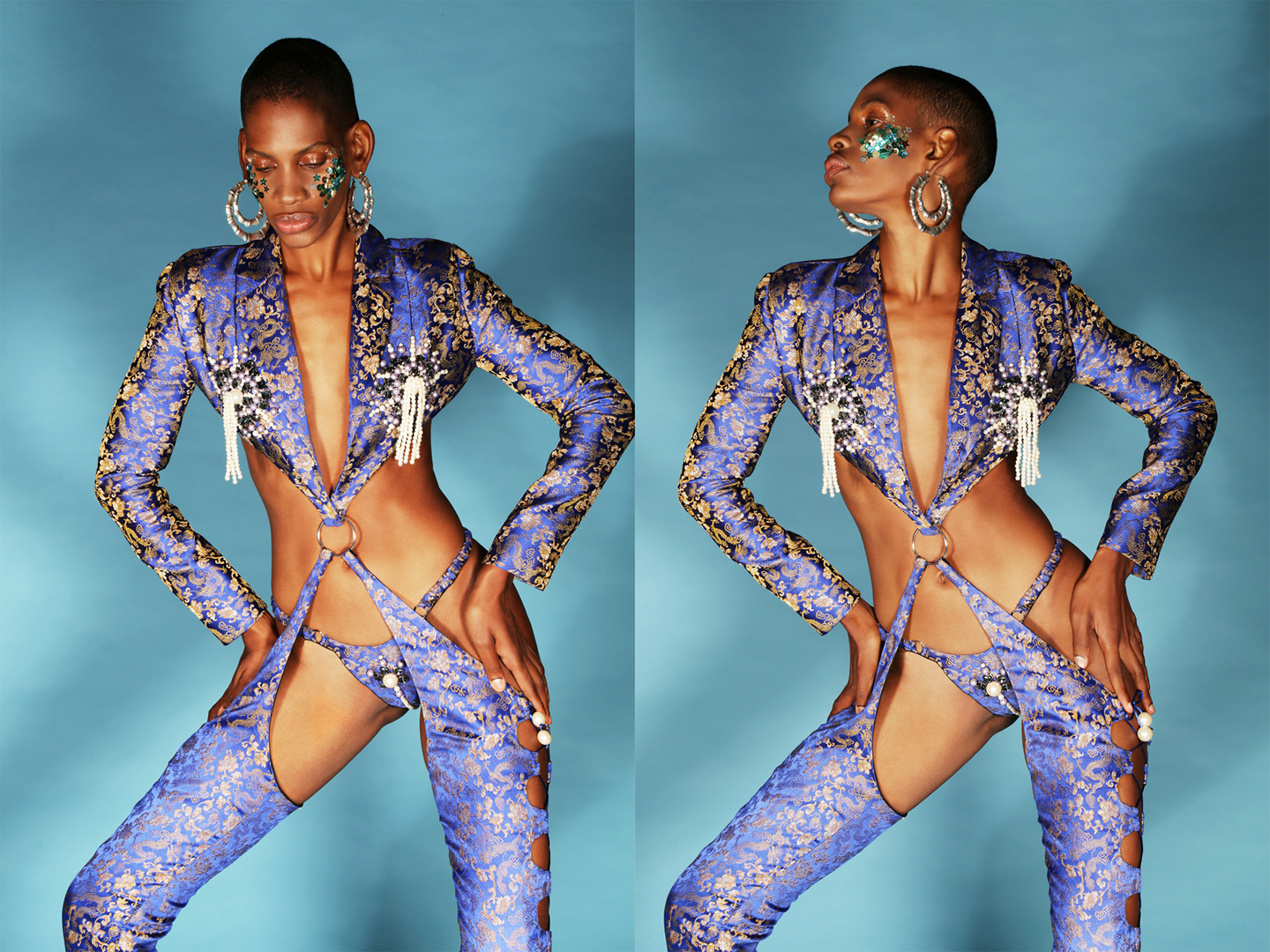 Embroidered lavender crop jacket with attached pant and coordinating brief by  NAMILIA , EARRINGS  LAruicci
