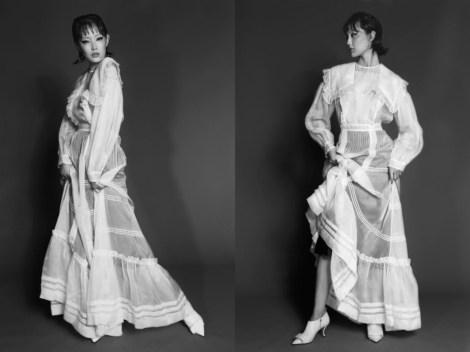 Dress by  calvin klein,  Heels BY  thom browne