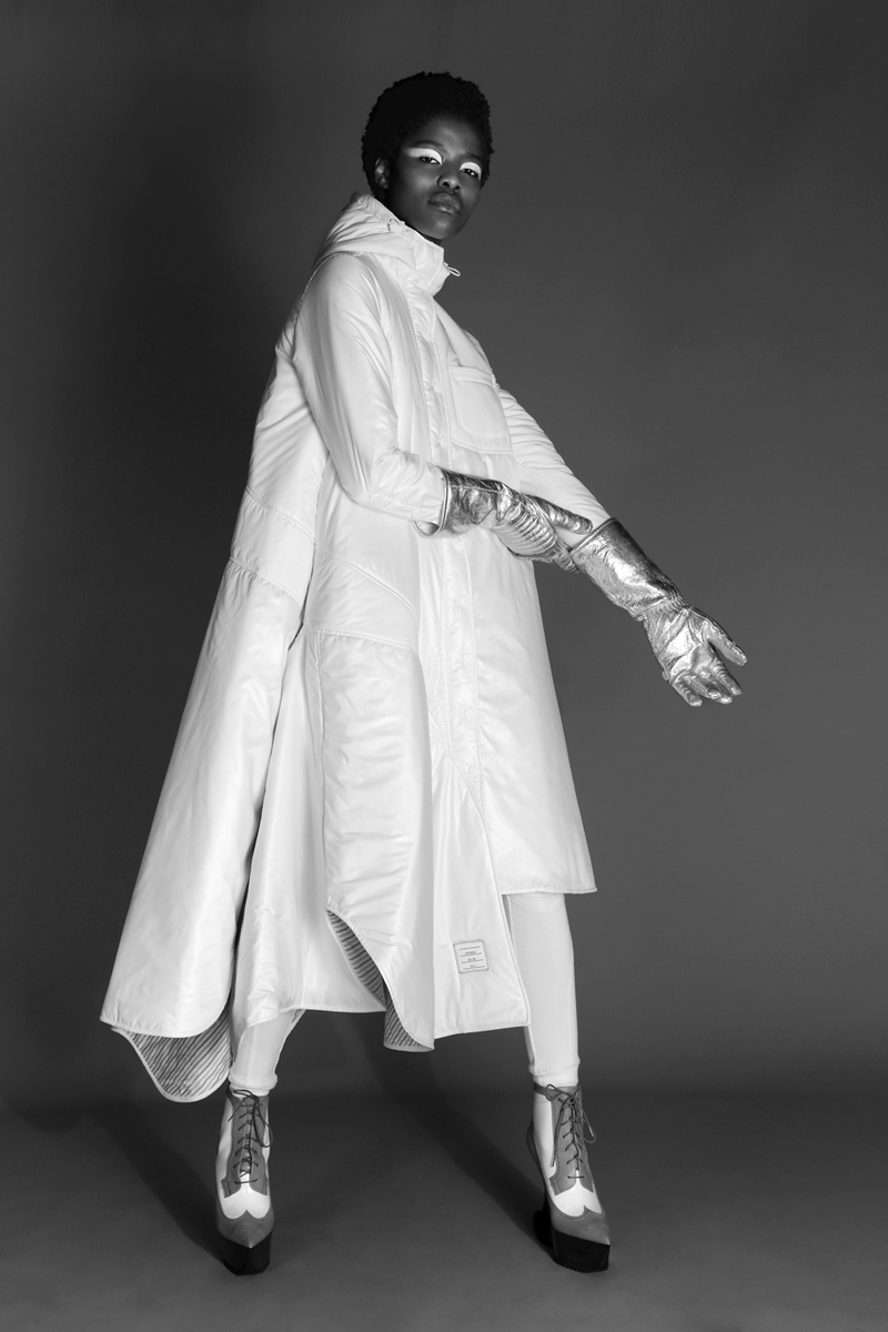 hooded coat by  Thom browne commercial,  Gloves by  Calvin klein,  shoes by  thom browne