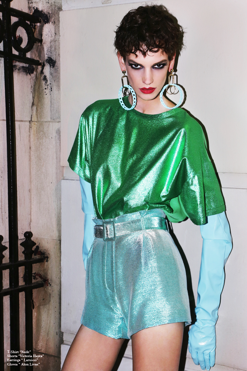 T-Shirt By  NUDE,  Shorts BY  Victoria HAyes,  Earrings By  Laruicci,  Gloves By  Alon Livne
