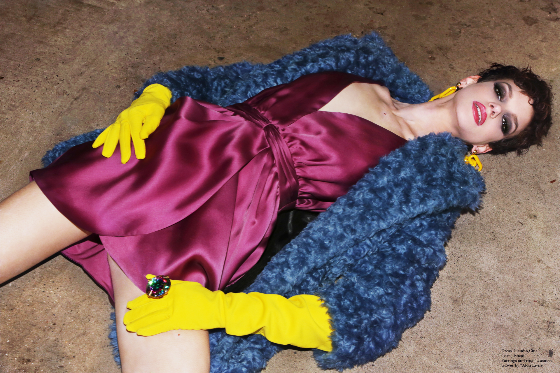 Dress by  Claudio Cina,  Coat by  Sfizio,  Earrings and Ring   by  Laruicci ,  GLOVES BY  ALON LIVNE