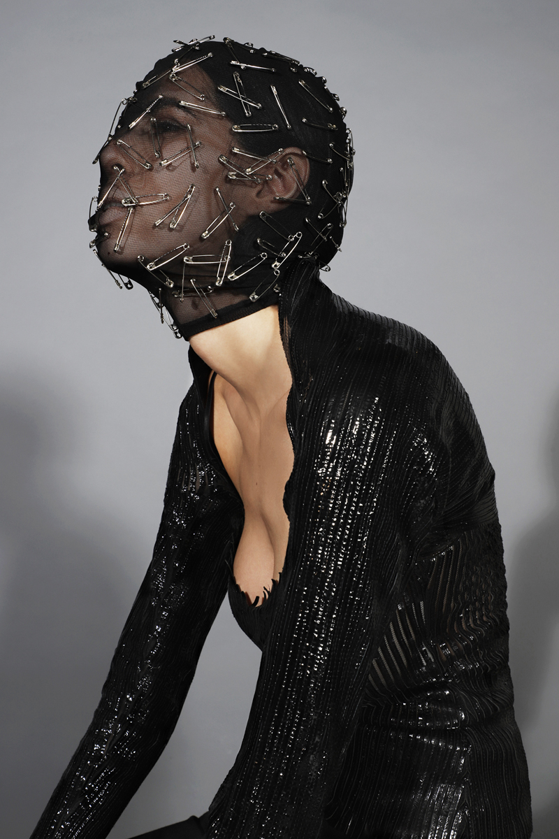 Mesh Safety Pin Mask By  Cheng-Huai Chuang,  Convertible Stretch Leather Shrug By  Carla Dawn Behrle NYC,  Leather Camisole By  Carla Dawn Behrle NYC