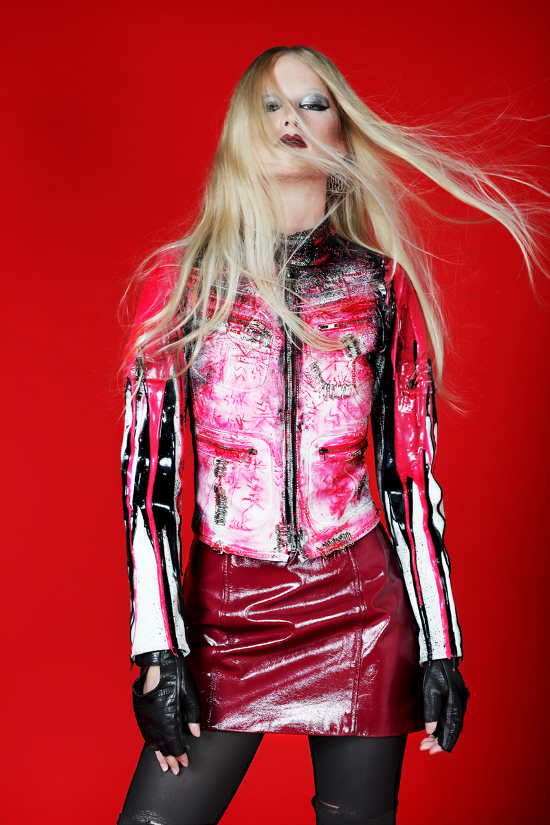 Pink Silicone Jacket by  SSIK Designs for Patricia Field,  Skirt by  WarDog at DREEMS NYC