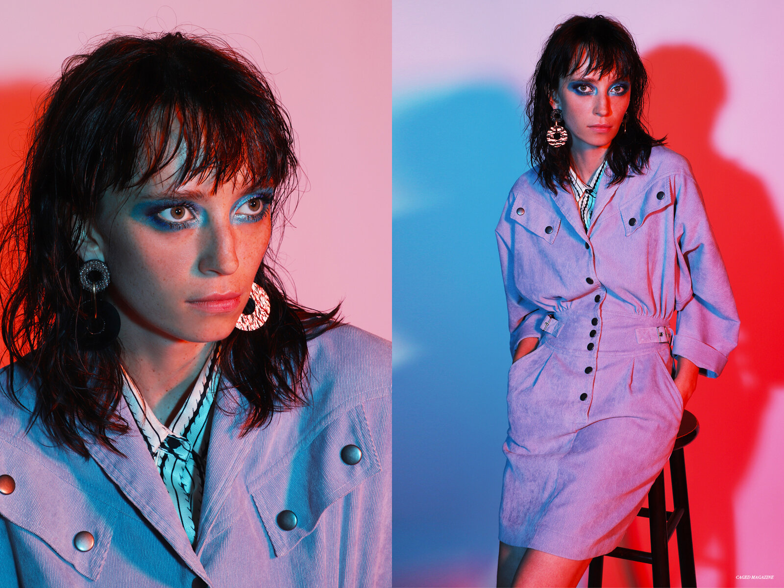Earrings by  Lizzie Fortunato,  Shirt by  Maje,  Rosa Dress by  Rebecca Minkoff