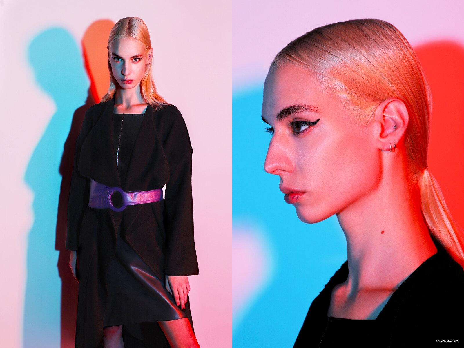 The Hampton Coat by  Noon By Noor,  Black Leather Dress by  Maison Marie Saint Pierre,  Purple Belt by  Lisa Shaub
