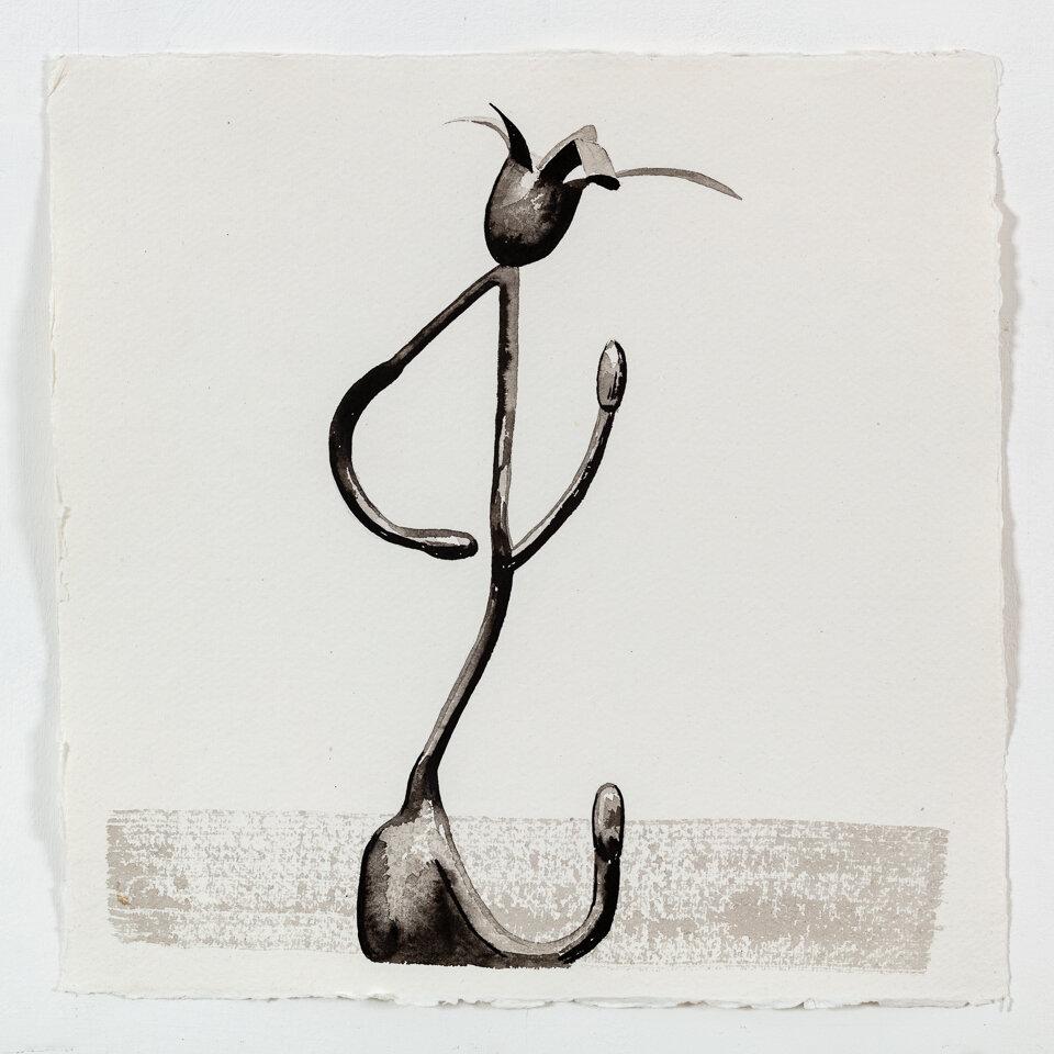 Jane Gifford No. 3 (Endangered Species 8, 1993), 2018 Indian ink on handmade Khadi paper