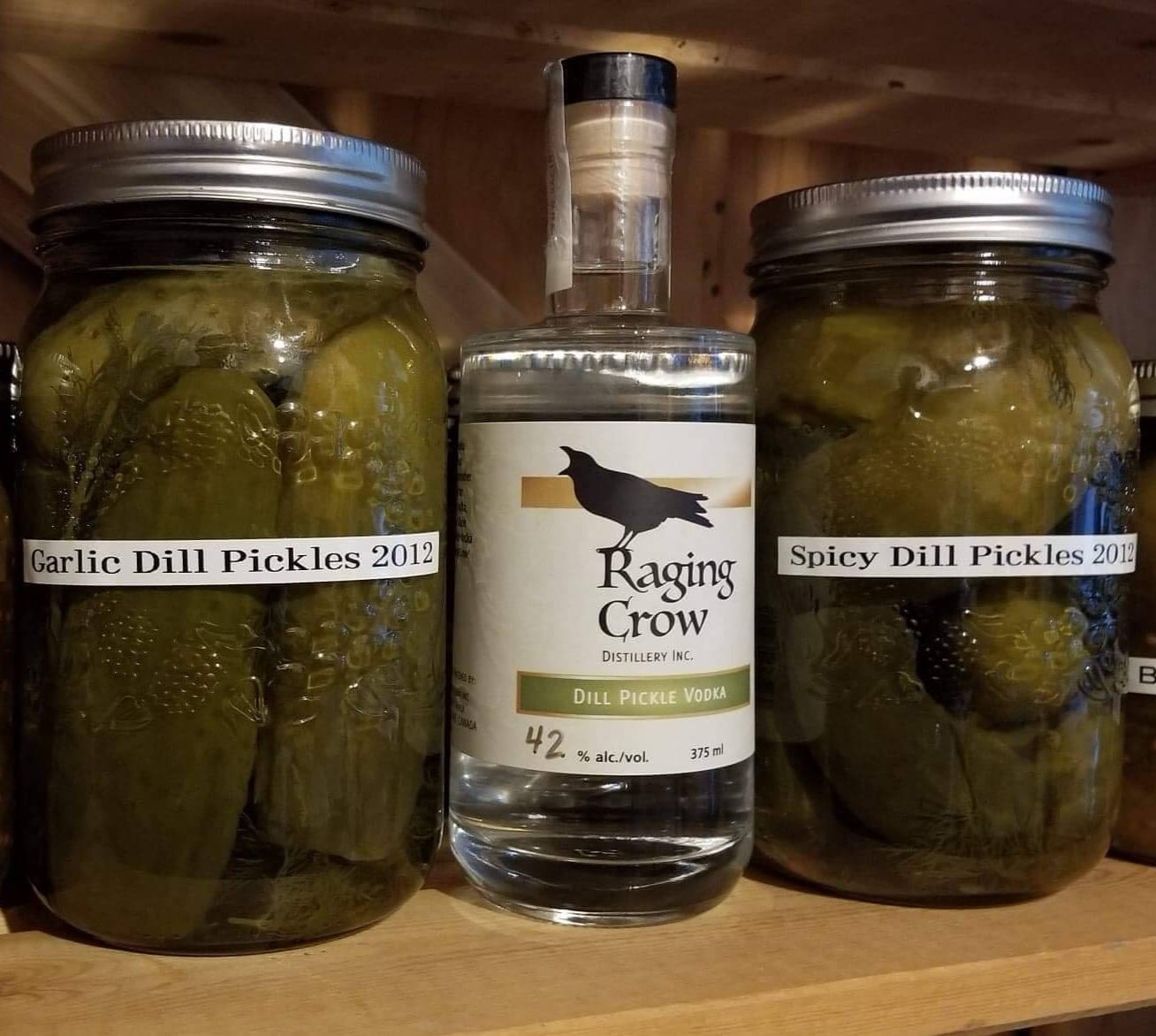 Raging Crow Dill Pickle Caesar - 1 375ml bottle of Raging Crow Dill Pickle Vodka1 2.54 litre bottle of Extra Spicy Mott's ClamatoCombine in a punch bowl - instant party!
