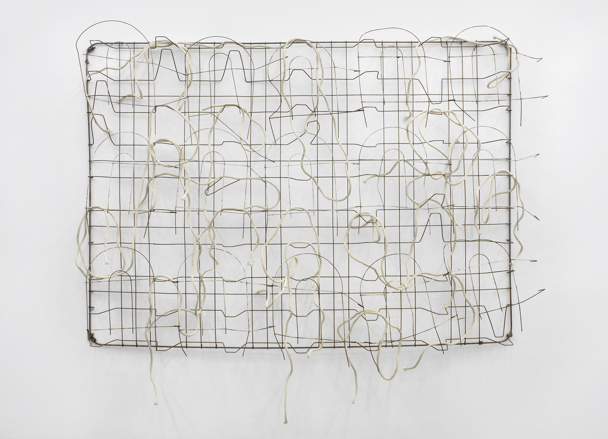 Bed with Rope and Fence  2012 bed, rope, fence 52 x 73 x 9 inches Photo: Cathy Carver