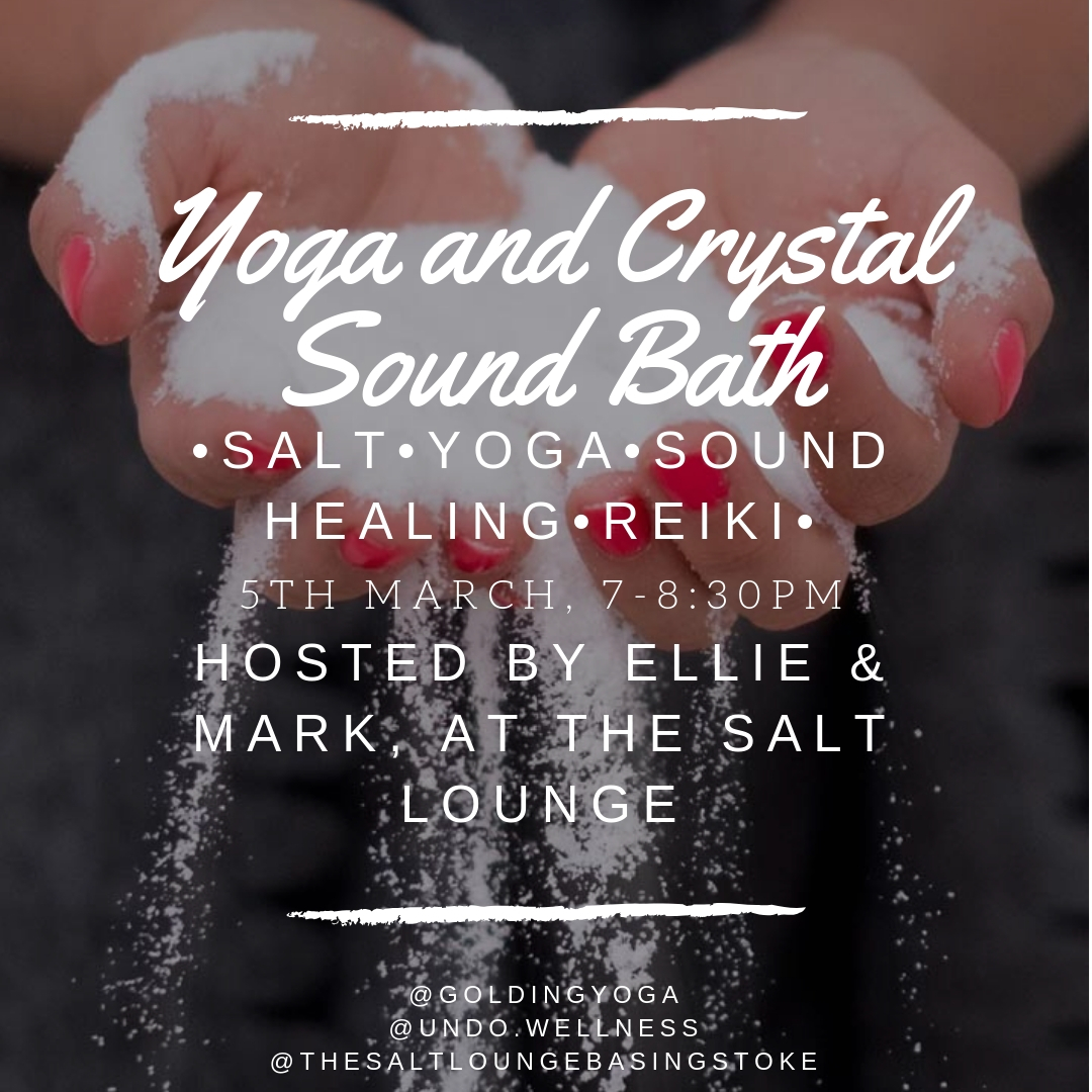 Join The Salt Lounge for an evening of deep relaxation, you'll nurture the body with a gentle yoga practise, followed by sound healing. - Included within your ticket, you shall receive salt therapy, a gentle conditioning yoga practise, deep relaxation supported by crystal sound bowls, Tibetan bowls and angelic chimes, and, if you wish, a grounding Reiki treatment!Honour yourself by creating space for healing, nourishing the mind and body.