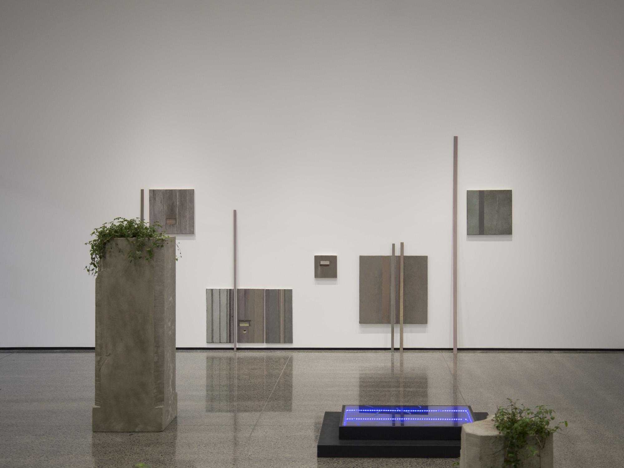 Front to back: Claudia Dunes  Impluvium , 2016; Julia Teale,  Concrete, Matters , 2016