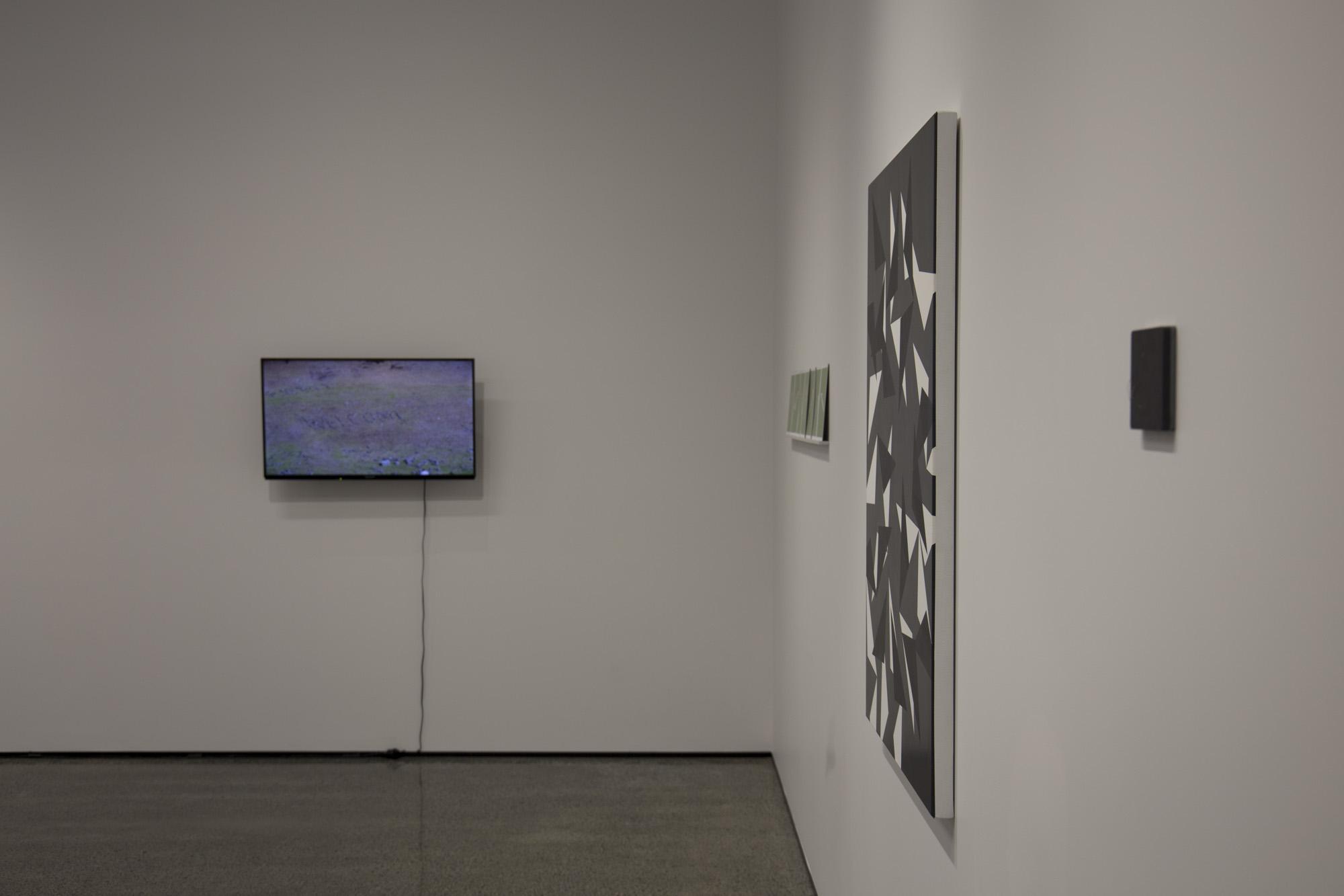 Left to right: Jeremy Leatinu'u,  The Welcome Project  (2 of 2), 2010; Shannon Novak,  Pianissimo 1–7 , 2016; Jeena Shin,  Motus 3 , 2014; Sarah Smuts-Kennedy,  Celestial Poles , 2015
