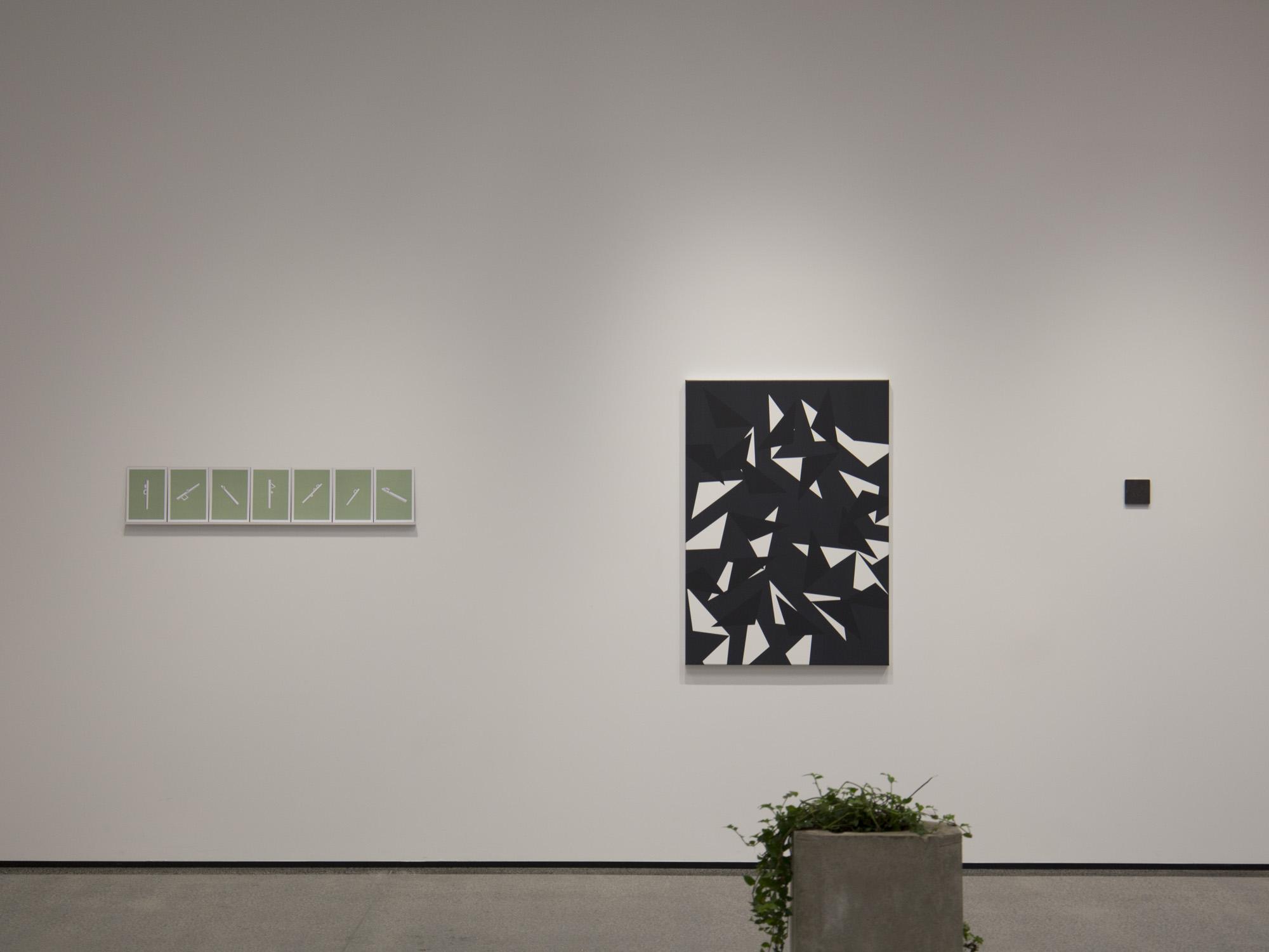 Clockwise from left: Shannon Novak,  Pianissimo 1–7 , 2016; Jeena Shin,  Motus 3 , 2014; Sarah Smuts-Kennedy,  Celestial Poles , 2015; Claudia Dunes,  Impluvium , 2016