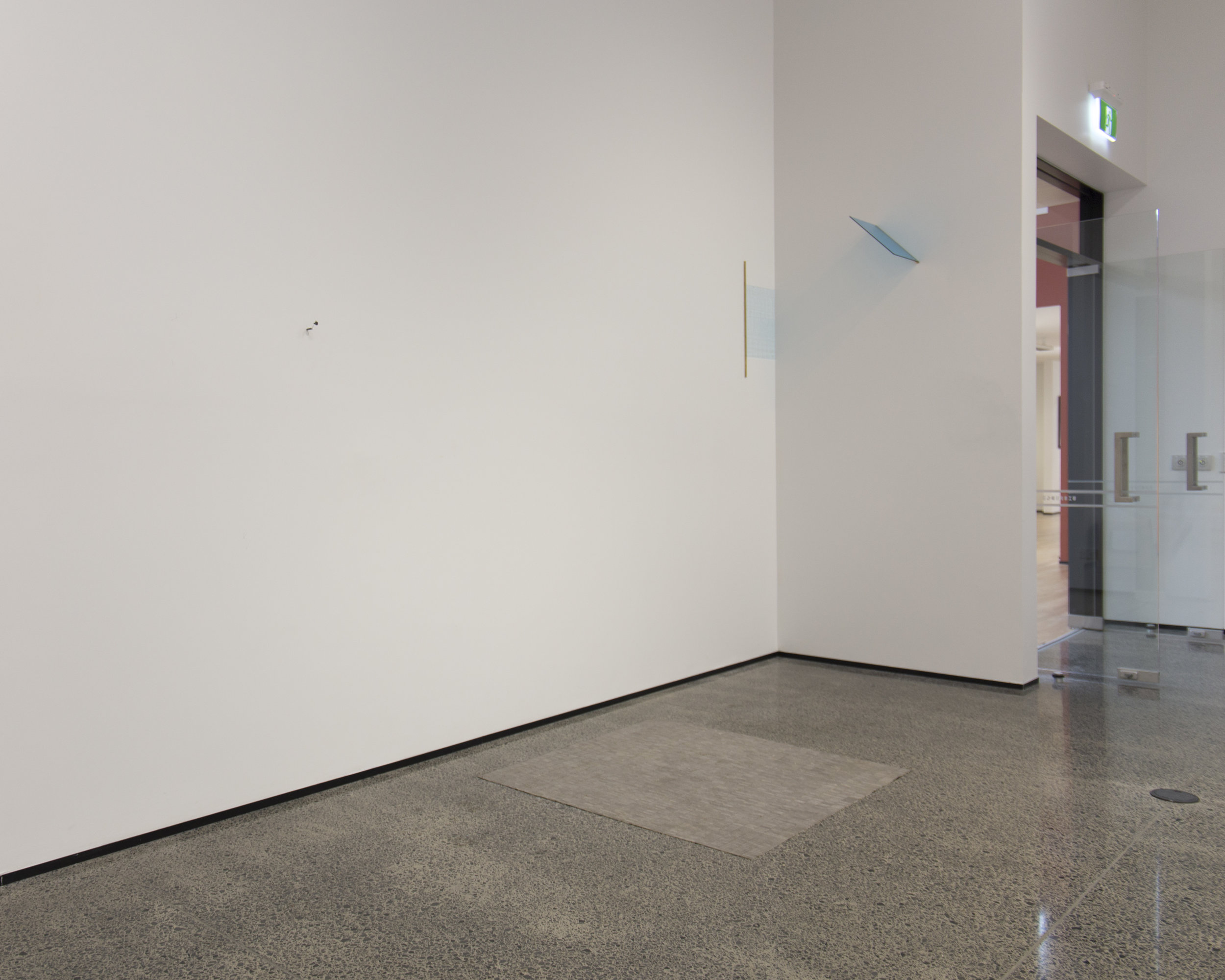 Left to right: Richard Frater,  Anne , 2012; Katrina Beekhuis,  Lino floor mat , 2016; Sarah Smuts-Kennedy,  Subtle Field 1 , 2014