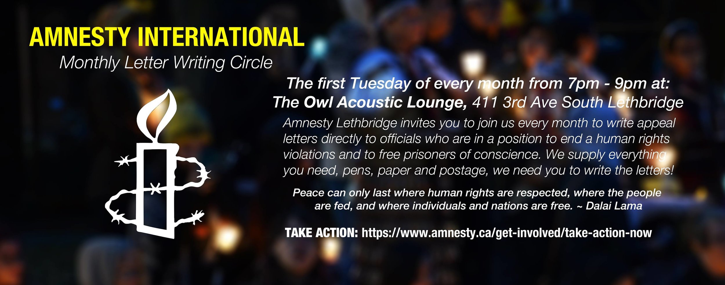 Web banner monthly letter writing circle at Owl Acoustic Lounge - 2018