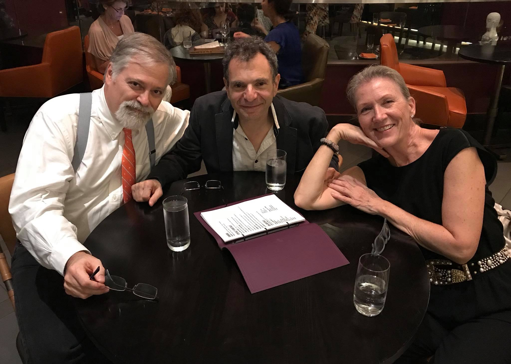 The  Woman in Morocco  creative team, (l to r) Daron Hagen, Roger Zahab, and Barbara Grecki in Chicago, September 2018.