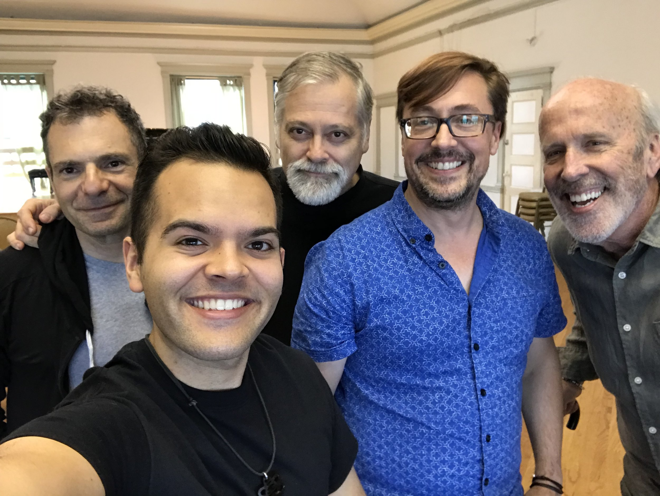 (l. to r.) Conductor Roger Zahab, Omar Mulero, Daron Hagen, Robert Frankenberry, and Robert Orth in rehearsal at the Fine Arts Bulding in Chicago, September 2018.