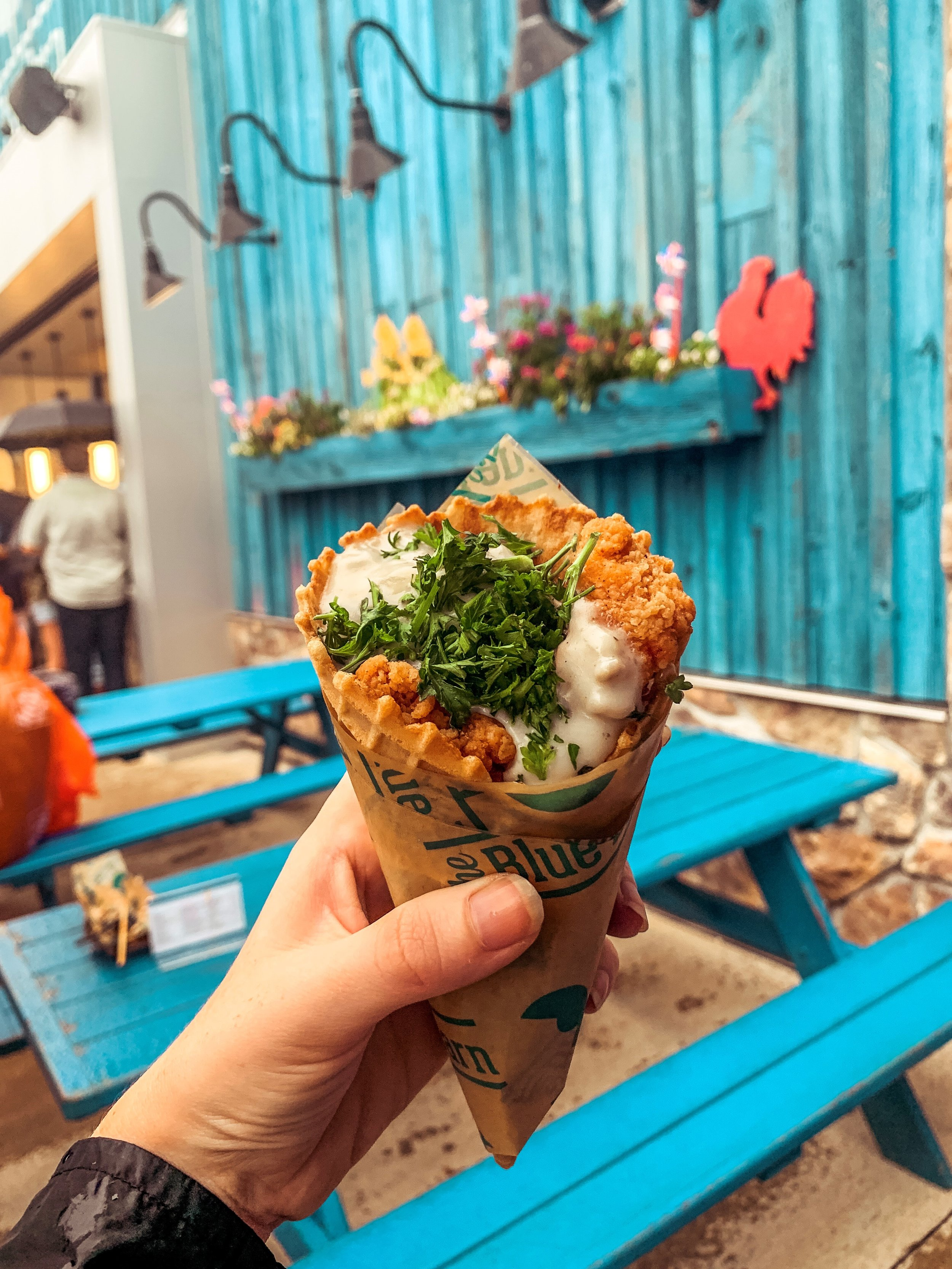 Chicken and Gravy in a Waffle Cone at Blue Barn