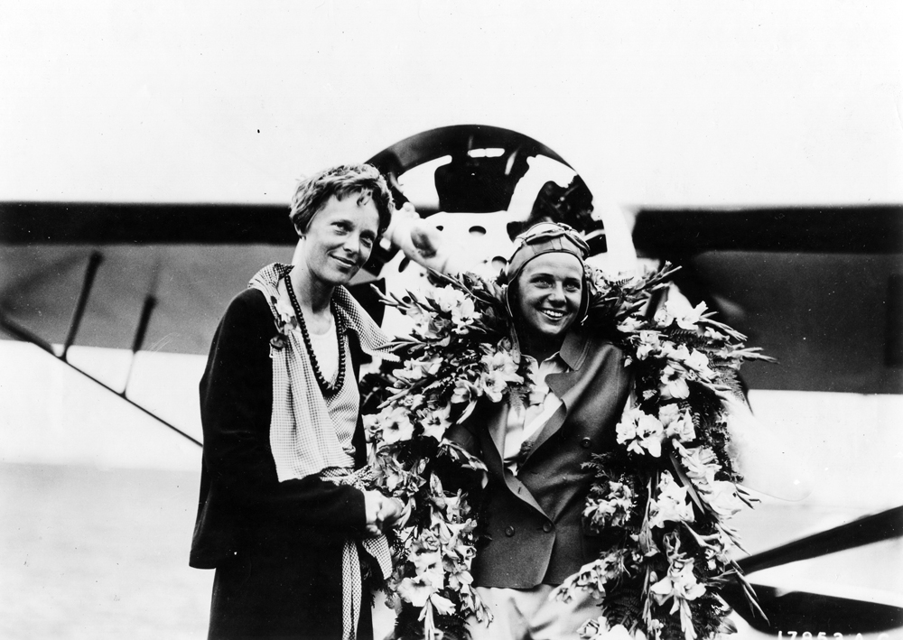 Amelia Earhart, left, may have been the most famous female pilot. But even she knew that Florence Klingensmith, right, was faster.  Getty Images