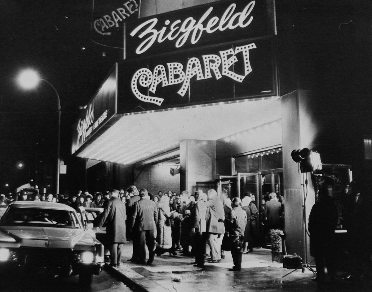 The Ziegfeld Theatre was a legendary movie palace that hosted more premieres than any other venue outside Hollywood.  Pictured, the star-studded opening of  Cabaret.