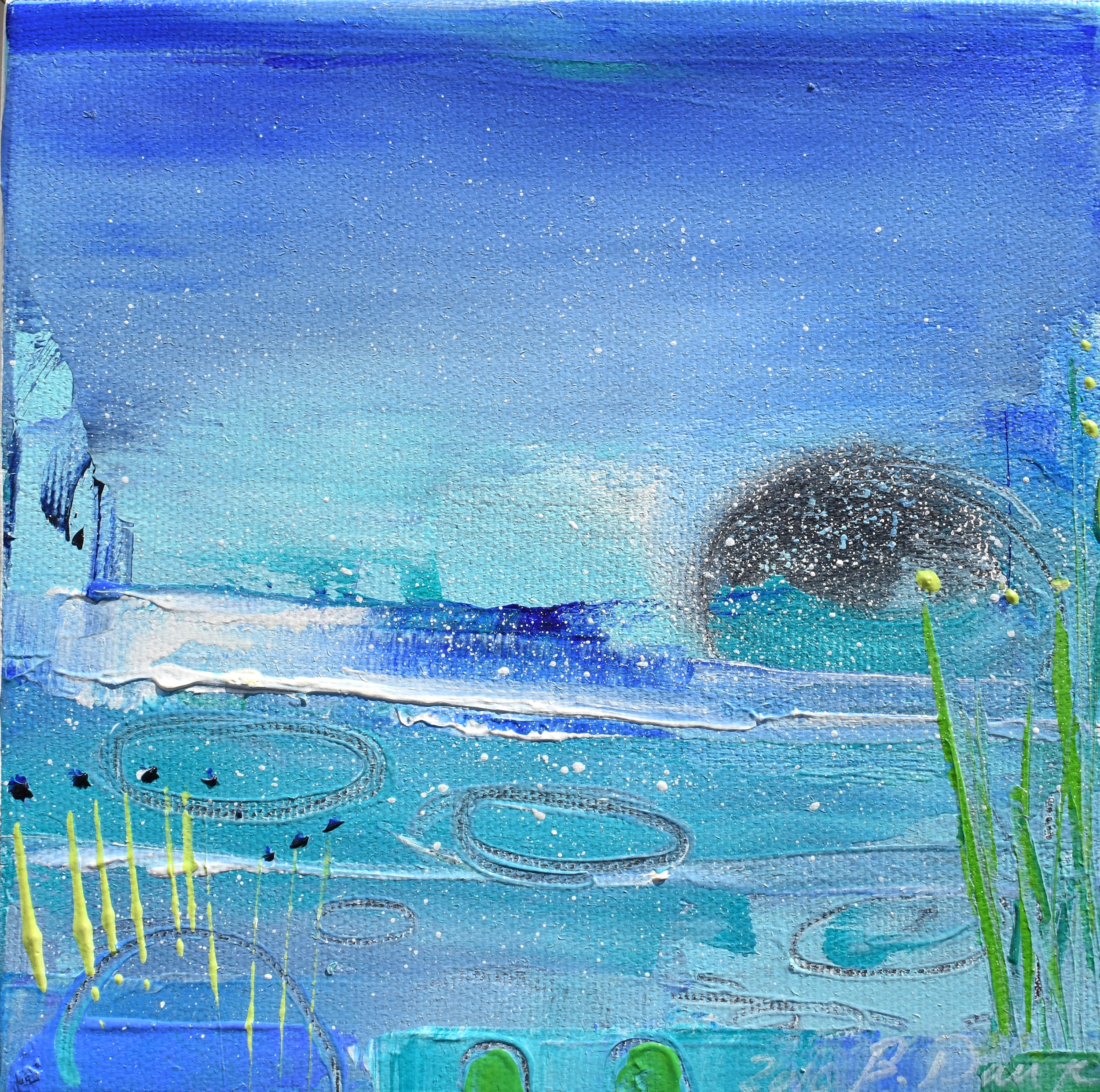 MAGIC PLACE, OIL ON CANVAS, 6 X 6 INCHES, WHITE FLOATING FRAME, CAD$ 190.-