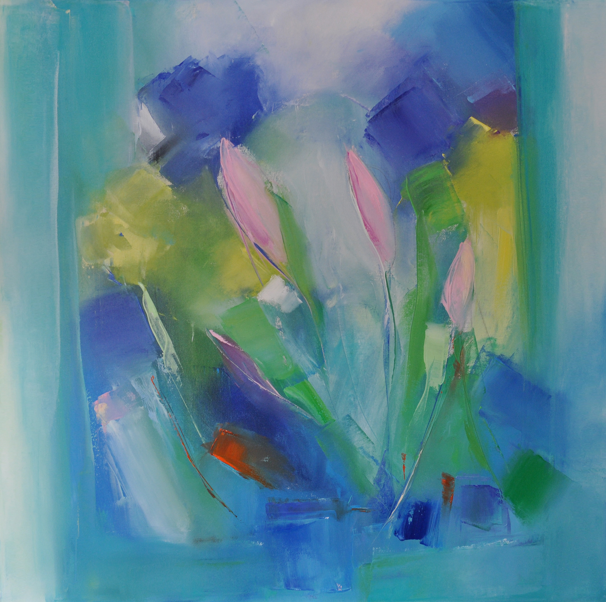 FIRST TULIPS, 30x30 inches oil on canvas 2015 DONATION at Dana Faber Hospital in BOSTON,MA