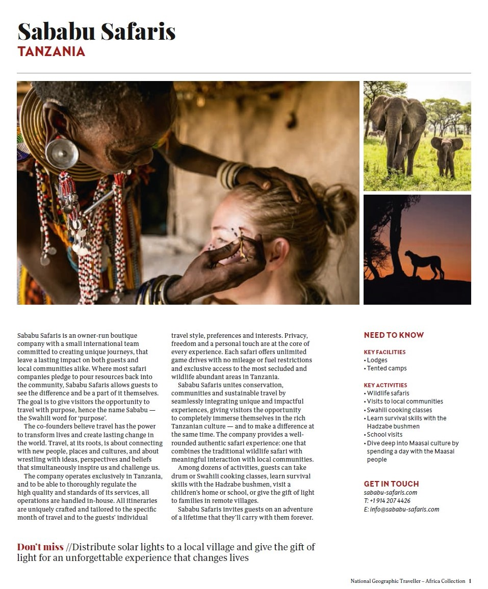 Our Feature in National Geographic Traveller's Africa Collection 2019