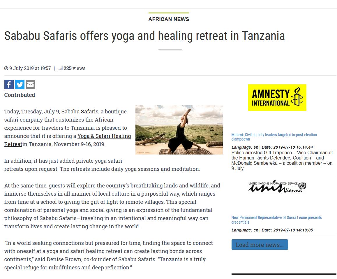 Patriotic Vanguard Artikel über unser Yoga & Safari Healing Retreat