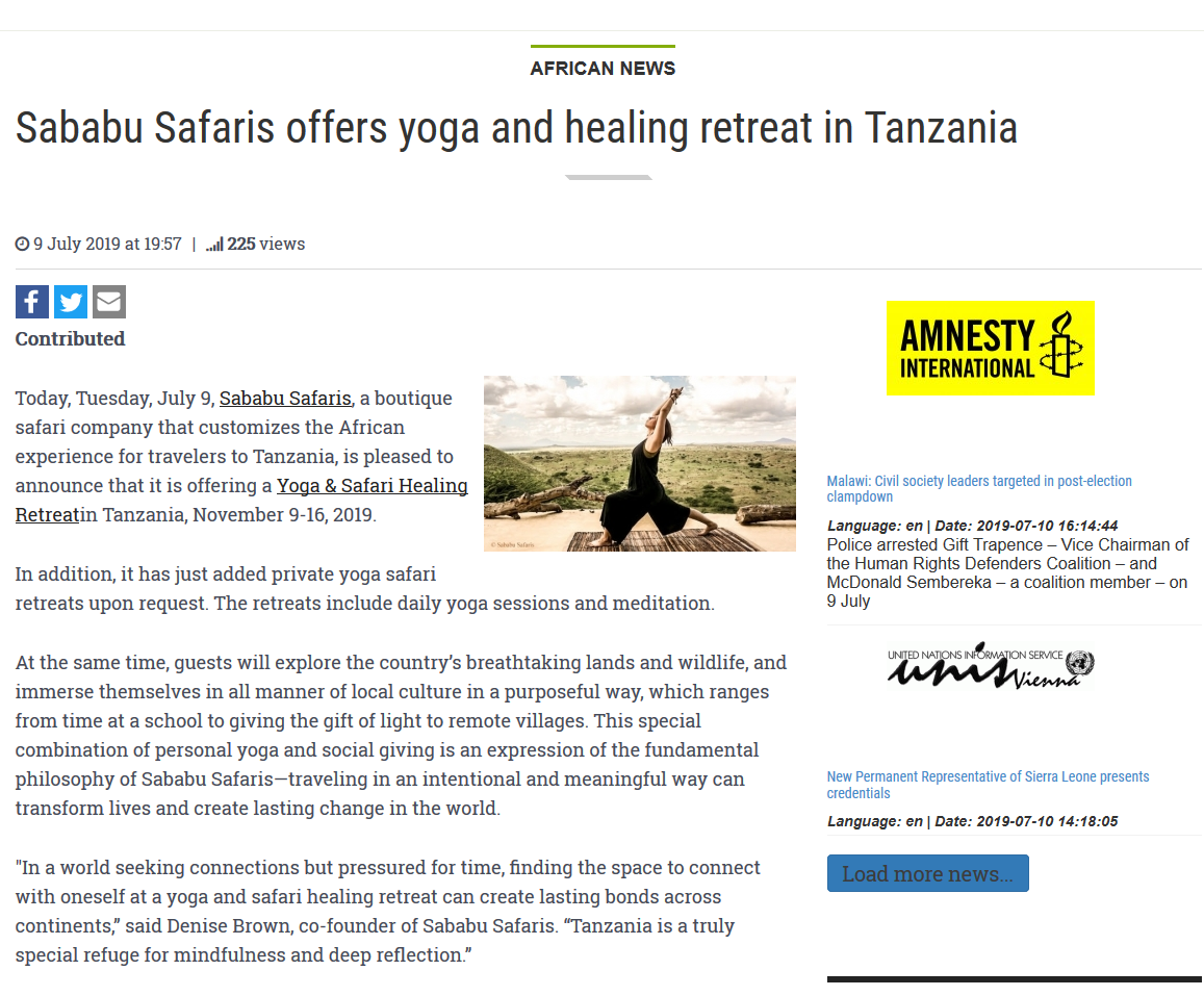 Patriotic Vanguard Article about our Yoga and Safari Healing Retreat