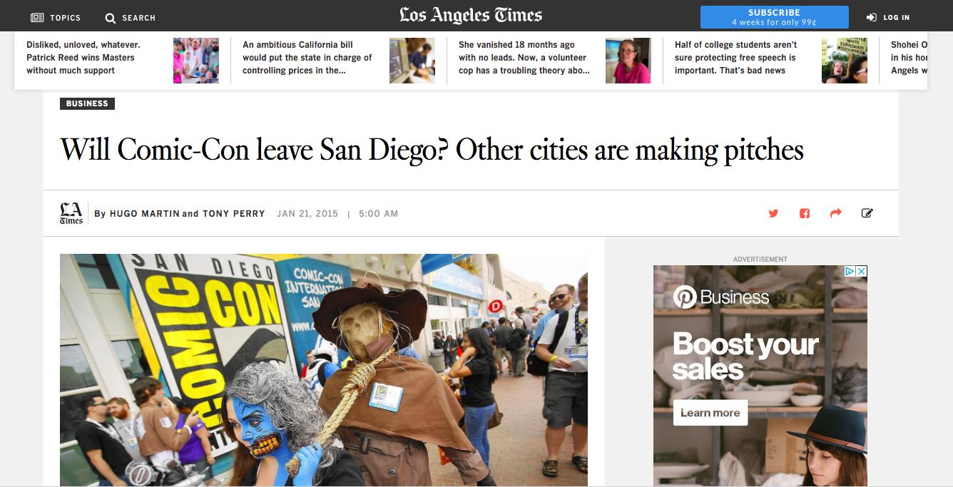 Print & Digital News Article | LA Times Will Comic-Con leave San Diego?