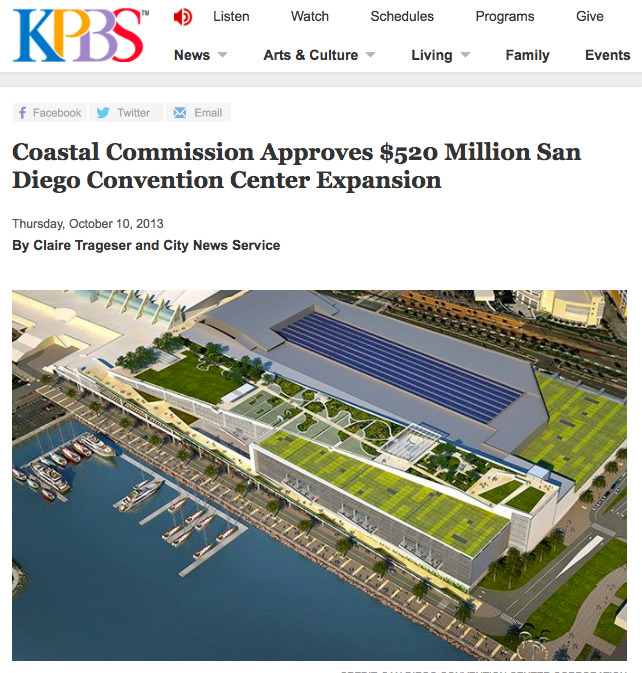 TV/Radio Article | KPBS Coastal Commission Approves $520 Million San Diego Convention Center Expansion