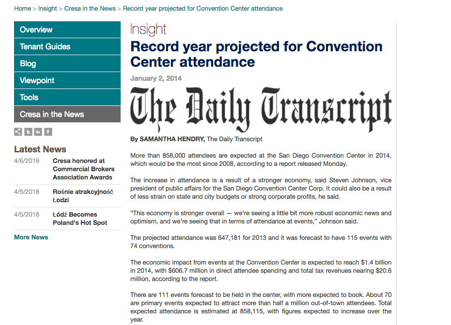 Print/Digital Article | SD Daily Transcript | Record Year Projected for Convention Center Attendance