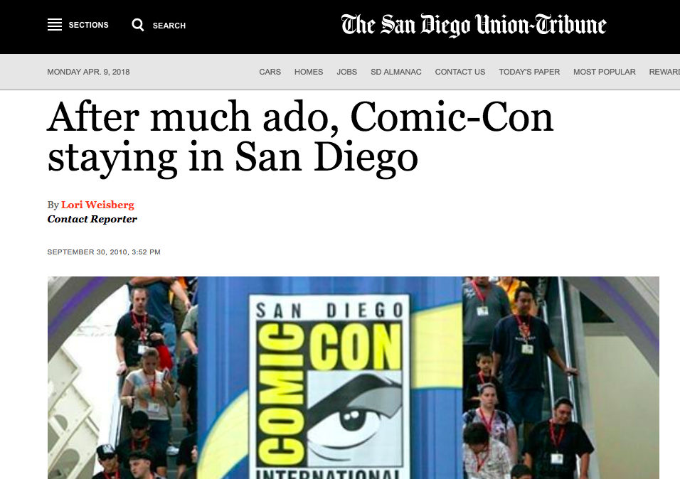 News Story | SD Union Tribune After Much Ado, Comic-Con Staying in San Diego