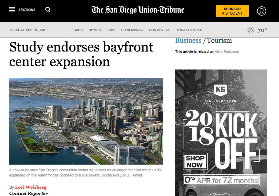 News Article | SD Union Tribune Study Endorses Bayfront Center Expansion